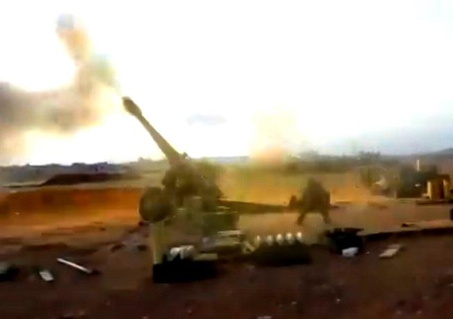 Применение снарядов с лазерным наведением в Сирии — видео