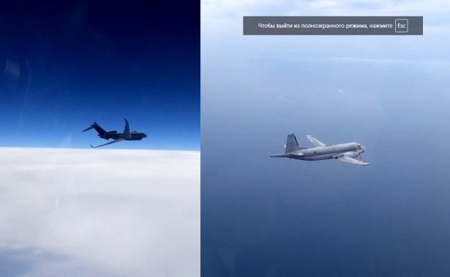 ВИДЕО сопровождения самолетов-разведчиков «Атлантик-2» ВМС Франции и R.1 «Сентинел» ВВС Великобритании