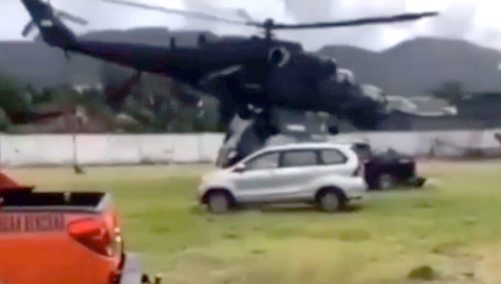 Видео: Ми-35П чудом избежал катастрофы в Индонезии